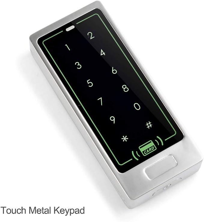 HFeng Teclado de control de acceso táctil Lector de tarjetas RFID Controlador de acceso con sistema de apertura de puerta Wiegand de 26 bits + 10pcs ...