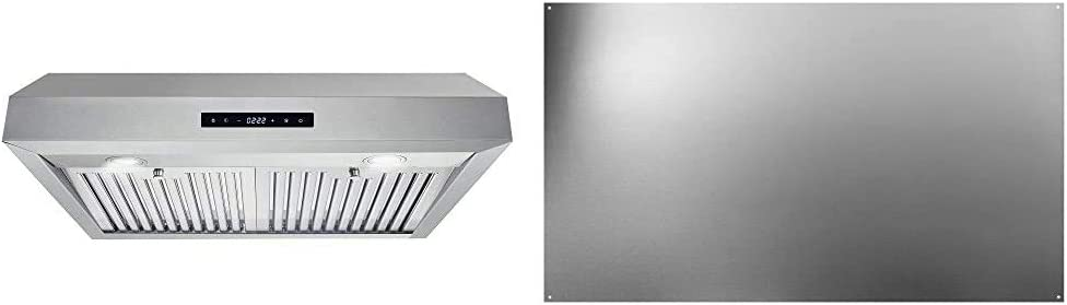 "Cosmo UMC30 Stainless Steel Under Cabinet Range Hood, 30"" & Broan-NuTone SP3004 Reversible Stainless Steel Backsplash Range Hood Wall Shield for Kitchen, 24 by 30-Inch"