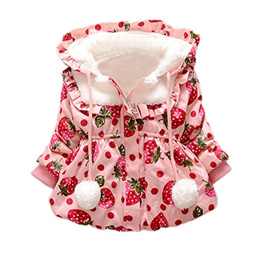 Coper Infant Girl Winter Warm Fur Hooded Coat Cloak Thick Clothes (24 month, Pink) by Coper (Image #1)