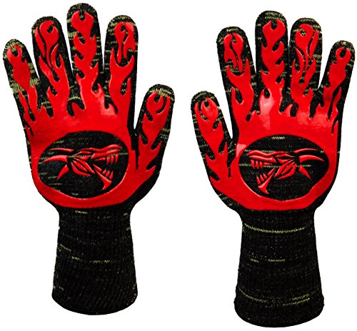 BBQ Gloves Heat Resistant Oven Mitts by Dragon Knuckle EN 407 Rating for Cooking Grilling Barbecue Charcoal Grill Smoker Tools and Accessories XL Long Size Kevlar Nomex Insulated