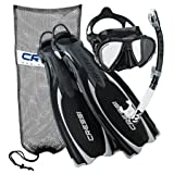 Cressi Reaction Open Heel Fins with Bungee Straps Mask Snorkel Set Scuba Gear Package