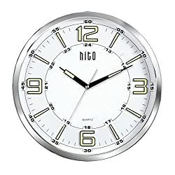hito Silent Wall Clock Non ticking 14 inch Large Oversized Excellent Accurate Sweep Movement Glass Cover, Decorative for Kitchen, Living Room, Bathroom, Bedroom, Office, Classroom (14 inches, Chrome)