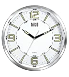 hito Large Silent Non-ticking Glowing in the Dark Hands Wall Clock- Glass Cover (14 inches, Chrome)