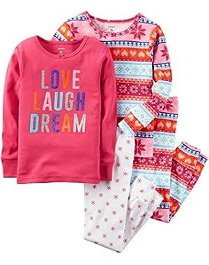 Little Girls' 4-Piece Snug Fit Cotton Pajamas
