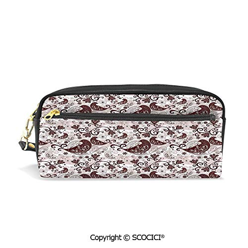 Fasion Pencil Case Big Capacity Pencil Bag Makeup Pen Pouch Arabesque Oriental Bird Figures with Floral Heart Forms with Lines Durable Students Stationery Pen Holder for School