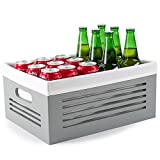 Wooden Storage Box - Decorative Closet, Cabinet and Shelf Basket Organizer Lined With Machine Washable Soft Linen Fabric - Gray, Large