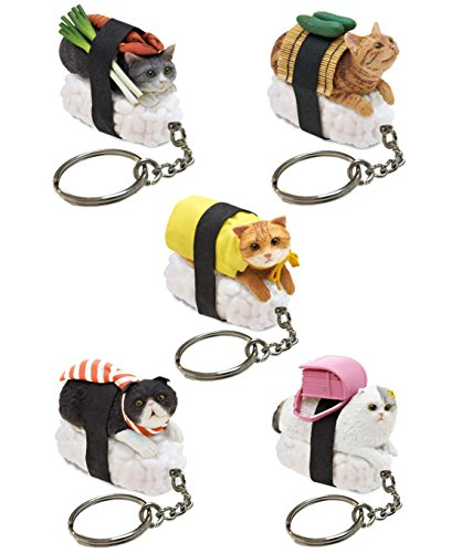 Sushi Cat Clever Idiots Nekozushi Keychain - Blind Box Includes 1 of 5 Collectable Figurines - Features a Detachable Keyring - Authentic Japanese Design (Version -