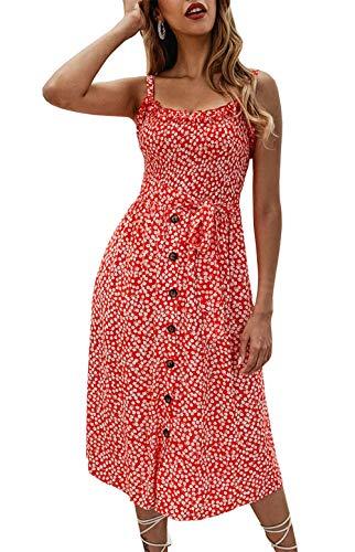 PRETTYGARDEN Women's Summer Sunflower Boho Spaghetti Strap Semi-Backless Button Down A-Line Midi Dress with Belt and Pockets (016-Red, Medium)