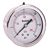 """Baker Instruments AHNC Series Stainless Steel Dual Scale Pressure Gauge, 0 to 30 psi / kPa, 2.5""""Dial, +/-1.6% Accuracy, 1/4"""" NPT Back Mount, Glycerine Filled"""