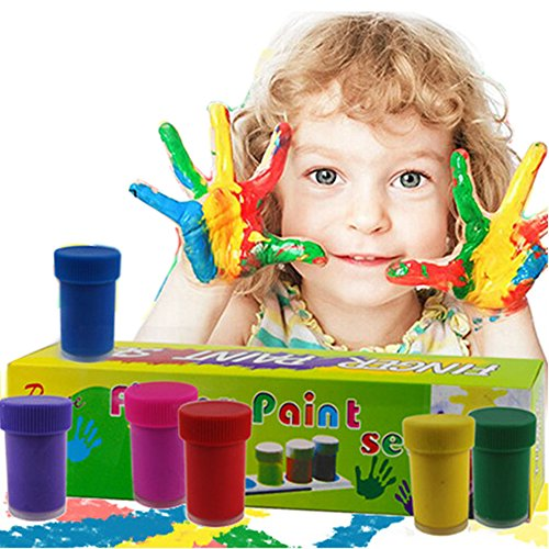 Happlee Finger Paint Set, Washable Kid's Paints, Washable Kids Finger Painting Pack of 6 Bottles, Eco Kids Non-Toxic Natural Paints (6 Cols)