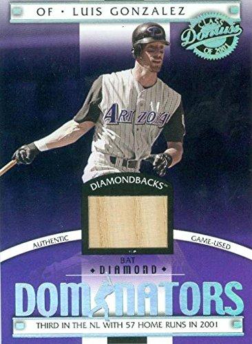 Luis Gonzalez Baseball (Luis Gonzalez player used bat patch baseball card (Arizona Diamondbacks) 2001 Donruss Diamond Dominators #DM8)