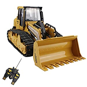 - 51PMlDxFN3L - 5 Channel Remote Control Crawler Bulldozer Heavy Truck Vehicle Toy Full Function Tractor Model With 7 Color Flashing Lights and Simulation Sound