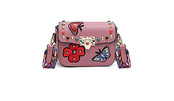 Amazon.com: Acereima NEW Butterfly Animal Pattern Fashion Mini Women Bags Rivets Embroidery Floral Bag Designer PU Leather Crossbody Bags Sac A Main Pink ...