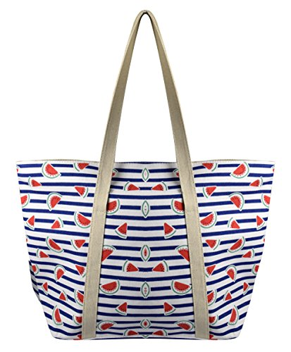 Peach Couture Womens Designer Print Large Travel Tote Handbag Shoulder Bag Purse (Blue Watermelon)