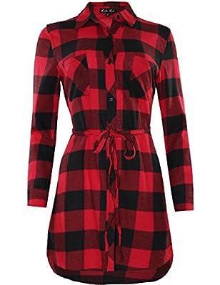 Ladies' Code Women's Long Sleeve Plaid Belt Shirt Dress w/ Belt