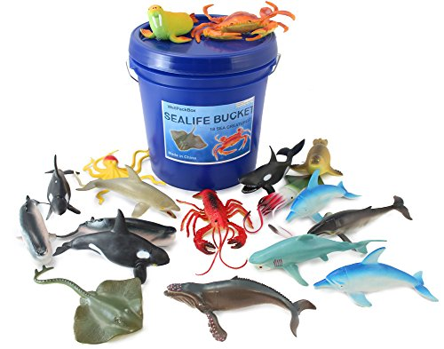 Creature Pack (WellPackBox Blue Bucket 18 Large Sea Life Shark Toy Animal Figures Toddlers Kids Boy Girls Party Supplies Bath Tub Adventures)