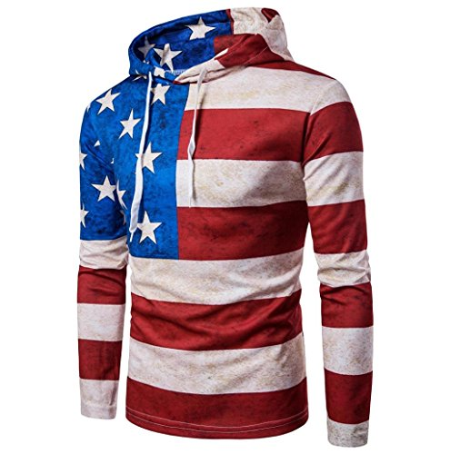 Fashion USA Flag Outwear MOKAO Men Long Sleeve Hoodie Flag Printing Hooded Coat Jacket Outwear Sport Tops (Asian Size:L, Red)