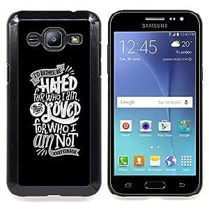GIFT CHOICE / Teléfono Estuche protector Duro Cáscara Funda Cubierta Caso / Hard Case for Samsung Galaxy J2 / J200 // HATED & LOVED TYPOGRAPHY //