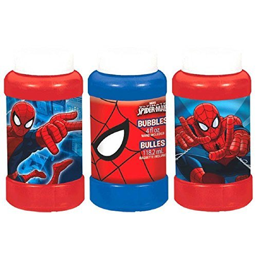 Kids Spring Summer Fun Backyard Outdoor Playtime Ultimate SET OF 3 Spider Man Bubble Maker Birthday Party Favor, 4 oz, Blue/Red