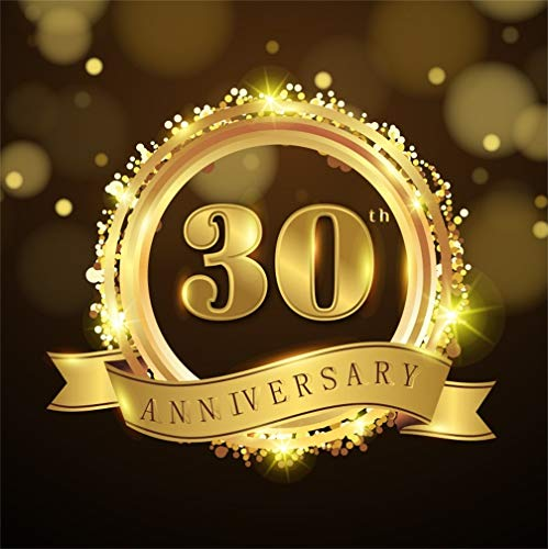 CSFOTO 7x7ft Background for Happy 30 Years Anniversary Photography Backdrop 30th Birthday Party Sparkle Golden Word Company or Wedding Anniversary Celebration Photo Studio Props Vinyl Wallpaper ()