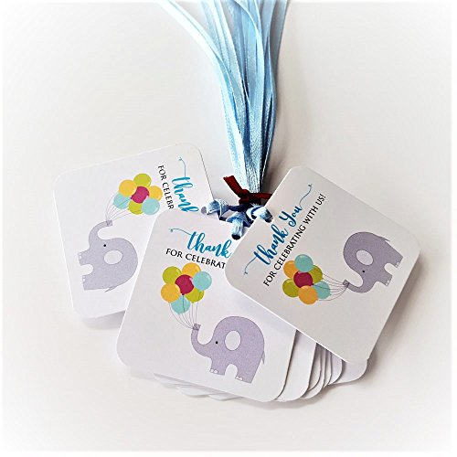 Blue Thank You for Celebrating with Us Elephant Favor Tags - Birthday Baby Shower Party - Set of 12