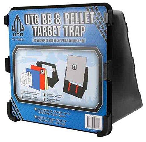 Pellet Target Trap (Leapers UTG Accushot Pellet & BB Trap, Ballistic Curtains, Paper Targets, Steel Backer)