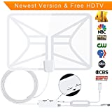HDTV Antenna, Transparent Amplified Indoor Digital TV Antenna 50-80 Miles Range with 2018 Newest Type Switch Console Amplifier Signal Booster, USB Power Supply and 16.5FT Coax Cable (white)