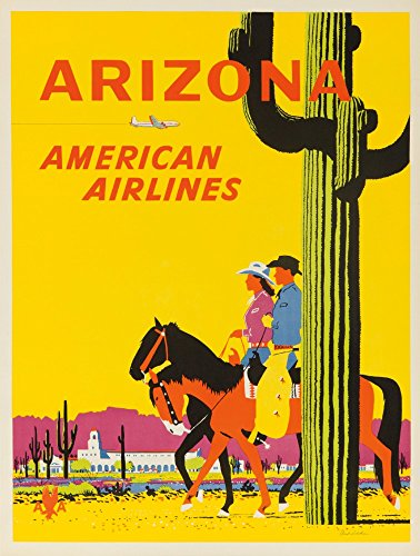 Vintage American Airlines (American Airlines - Arizona Vintage Poster (artist: Ludekun) USA c. 1955 (12x18 Collectible Art Print, Wall Decor Travel)