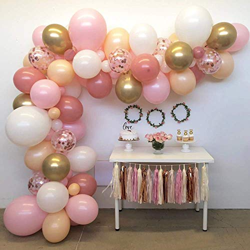 16 ft Balloon Arch & Garland Kit - 116 Pcs Latex Balloons, Blush Pink, White, Gold Chrome Metallic & Rose Gold Confetti, Orange Macaron Balloons for Birthday Party/Baby Shower/Wedding/Party Decor  -