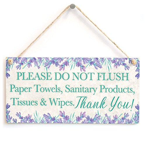 Meijiafei Please DO NOT Flush Paper Towels, Sanitary Products, Tissues & Wipes. Thank You! - Polite and Informative Septic Tank Sign Functional Interior Toilet Sign 10x5