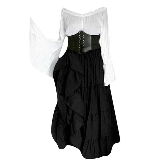 Amazon.com: Vestido medieval para mujer con mangas voladoras ...