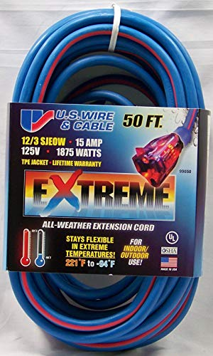 US Wire 99050 12/3 50-Foot SJEOW TPE Cold Weather Extension Cord Blue with Lighted Plug (Extension Temp Cable)