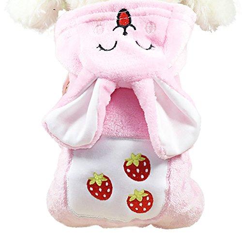 AKwell Dog Cat Clothing Kawaii Strawberry Rabbit Warm Winter Coat Plush Rabbit Pet Cute Pajamas