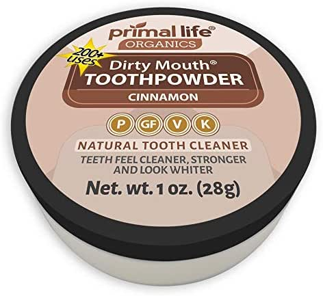 Primal Life Organics   Dirty Mouth Organic Tooth Powder   Gently Polishes, Whitens, Re-Mineralizes, Strengthens Teeth   1 Ounce (3 Month Supply)   Cinnamon