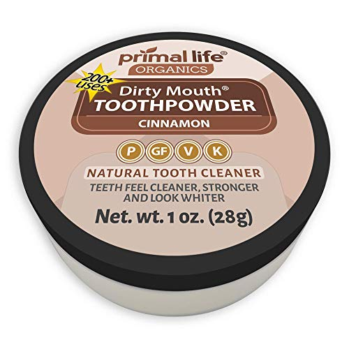 - Dirty Mouth Organic Toothpowder #1 Best Rated All Natural Dental Cleanser- Gently Polishes, Cleans, Re-Mineralizes, Strengthens Teeth - Cinnamon (1 oz = 3mo Supply) - Primal Life Organics