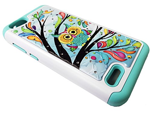For ZTE Avid 557 Consumer Cellular Sparkle Bling Hybrid Protective Case Phone Cover + Gift Stand (Sparkle Owl)
