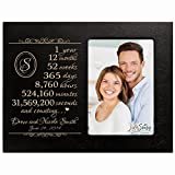 Personalized one year anniversary gift for her him couple Custom Engraved wedding gift for husband wife girlfriend boyfriend photo frame holds 4x6 photo by LifeSong Milestones (Black)