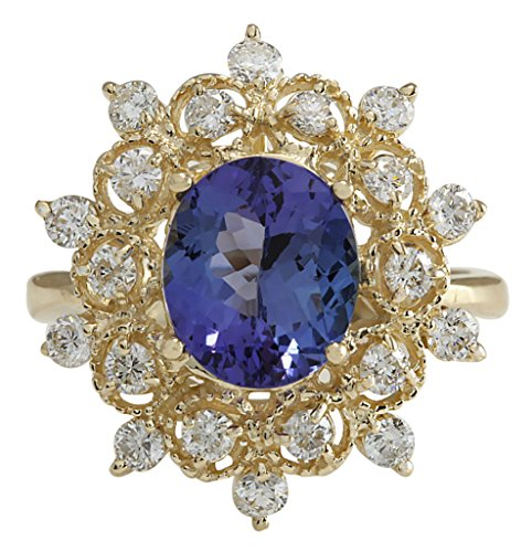 (4 Carat Natural Blue Tanzanite and Diamond (F-G Color, VS1-VS2 Clarity) 14K Yellow Gold Cocktail Ring for Women Exclusively Handcrafted in USA)