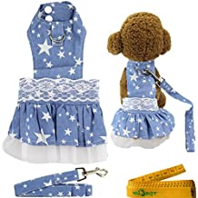 """Wiz BBQT Blue Dog Cat Pet Lace Dress Harness and Matching Leash Set for Dogs Cats Pets White Stars (CHEST GIRTH: about 16.9"""")"""