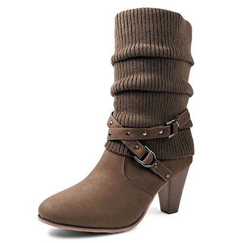 Schuhtraum Damen Stiefel Strick Stiefeletten Boots Strickschaft High Heels Leicht Gefüttert BL62 Braun