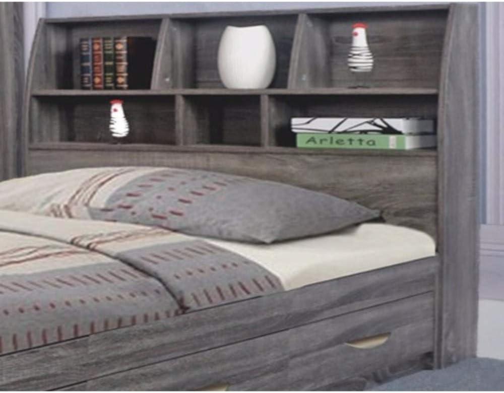 Benzara Elegant Grey Finish Full Size Bookcase Six Shelves Headboard