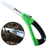 """WilFiks Razor Sharp 7"""" Blade Folding Saw, Perfect for Gardening, Pruning, Trimming, Sawing, Camping, Hiking, Hunting & Cutting Wood, Drywall, & More, Foldable Hand Held Design, NonSlip D-Shaped Handle"""