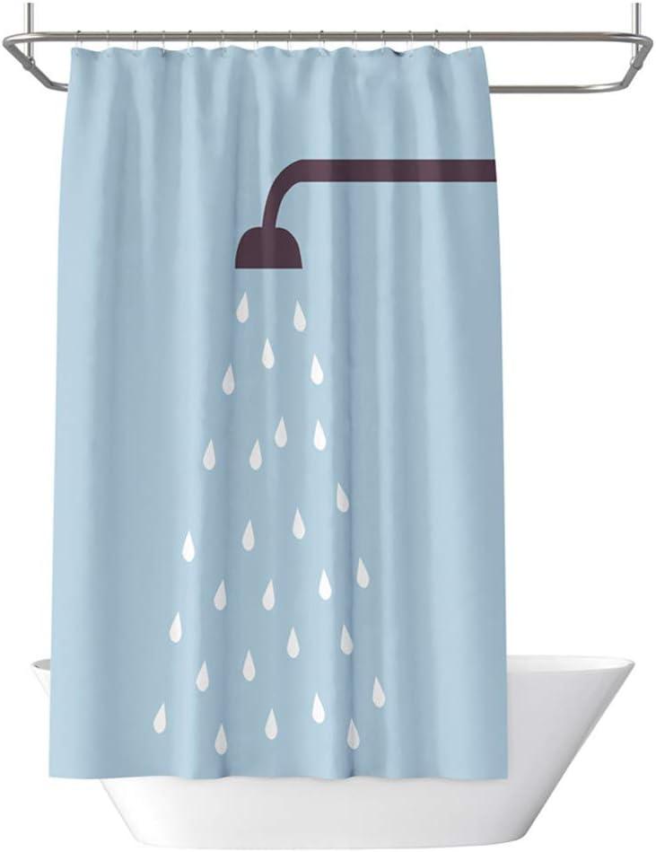 Ducha Gotas de Agua sobre Azul 80x180 cm Cortina De Ducha Antimoho Lavable con 12 Ganchos Ba/ño Poliester Impermeable Cortinas De Ducha De Tela