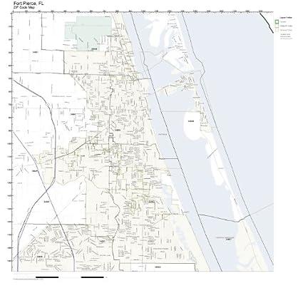 Map Of Fort Pierce Florida.Amazon Com Zip Code Wall Map Of Fort Pierce Fl Zip Code Map Not