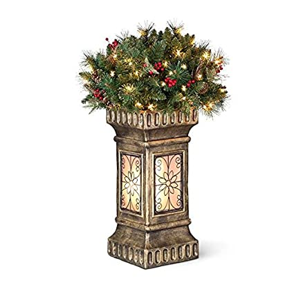 3 christmas topiary with lighted base indooroutdoor christmas decoration - Amazon Outdoor Christmas Decorations