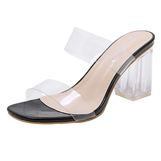 0c03267dd22 Amazon.com: Sanyyanlsy Women Rome Clear Perspective Band Slippers ...