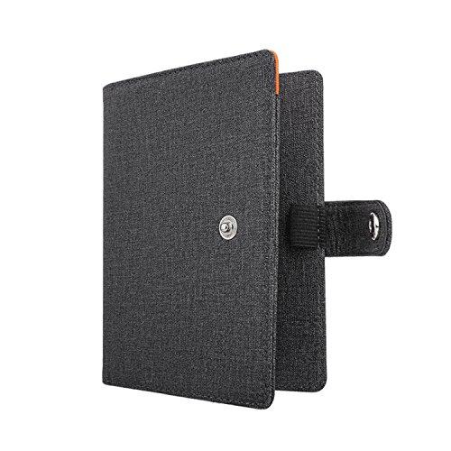 MoKo RFID Bloqueo de la billetera del titular del pasaporte,Funda de pasaporte multiusos Funda de viaje de cuero PU con cierre de botón a presión - Gris oscuro