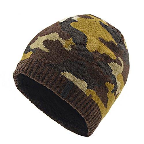 marrón Hombre y Sombrero la lana tejido de Gorro cobertura tapa mujer Mantenga Sombrero coreana pelusa capucha Plus caliente versión con de 0SXqIR