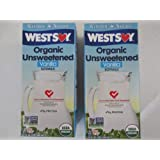 Westsoy Organic Unsweetened Vanilla Soymilk 32 ounce (2 pack - 64 total ounces) by West Soy
