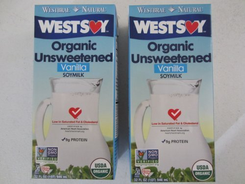 (Westsoy Organic Unsweetened Vanilla Soymilk 32 ounce (2 pack - 64 total ounces) by West Soy)